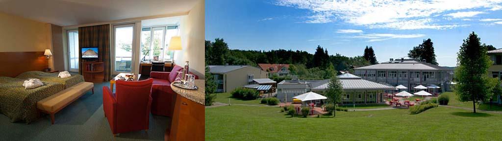 Hotel Residence Starnberger See Aussenansicht mit Blick auf Tagungspavillon und park