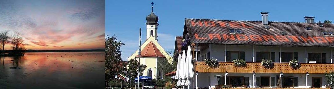 Landhotel Schöntag in Münsing im Fünfseenland und Abendstimmung am Ufer des Starnberger Sees direkt beim Hotel