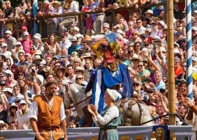 Pferd mit Ritter im Zuschauerraum