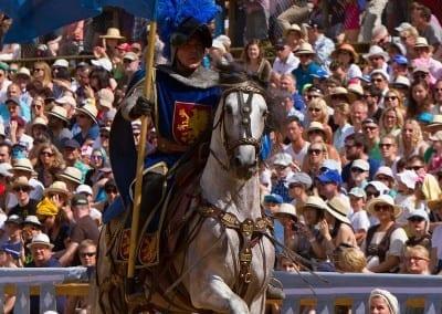 ^Reiter mit Pferd und Fahne in der Arena Kaltenberger Ritterturnier.