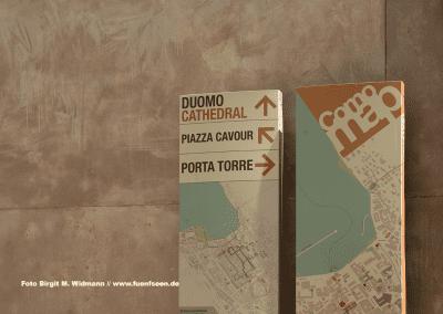 touristische Wegweiser durch Como