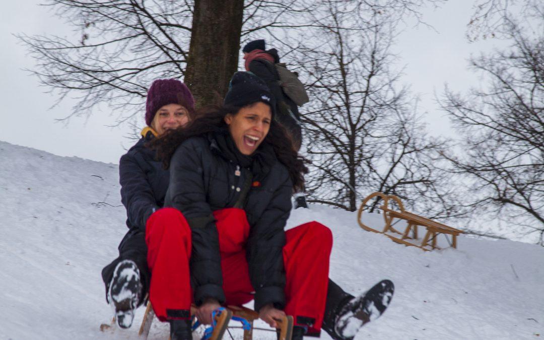 Winter in München Schlittenfahren
